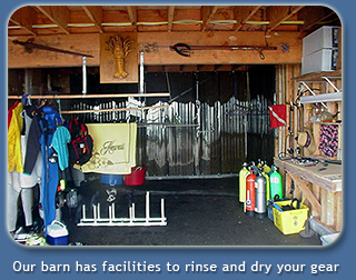 SCUBA and snorkel facilties in the barn